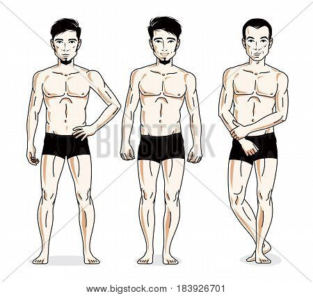 Handsome Men Group Standing In Black Underwear. Vector Characters Set. Athletic Man With Perfect Bod