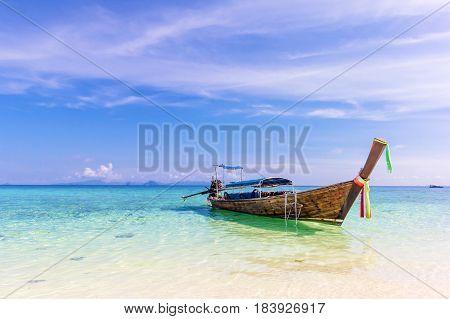 Longtail boat at the beautiful beach Krabi Thailand