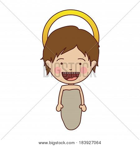 colorful silhouette of smiling baby jesus vector illustration