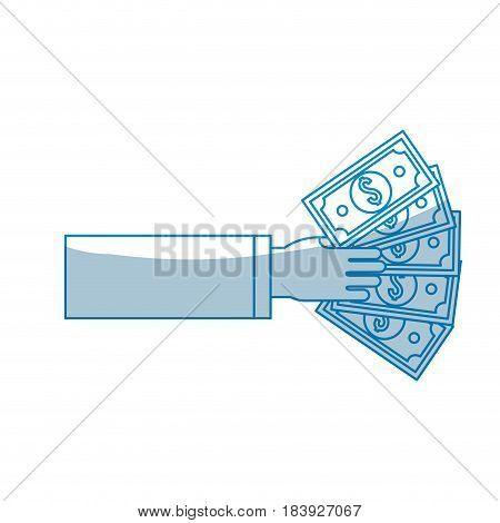 contour hand with bill money, vector illustration design