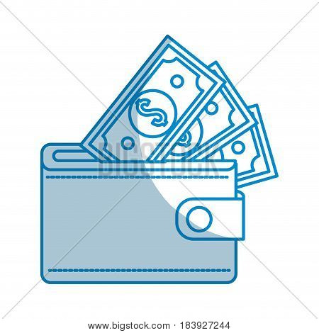 contour wallet with dolars bills inside, vector illustration