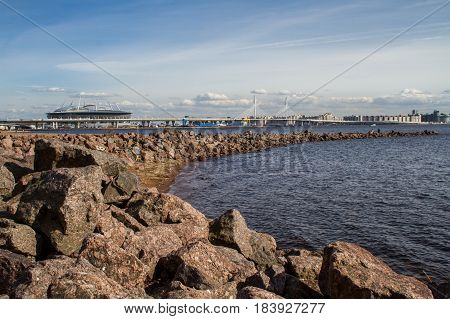 St. Petersburg. The Gulf of Finland. A series of stones leaving for the sea