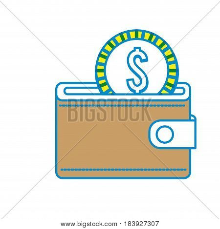 brown wallet with coin money inside, vector illustration