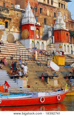 towers at the ghats in varanasi