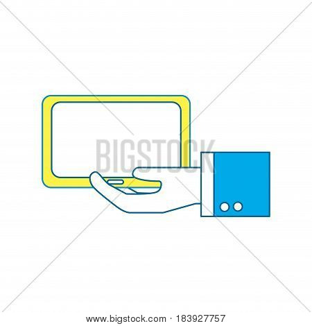 tablet technology business in the hand, vector illustration design