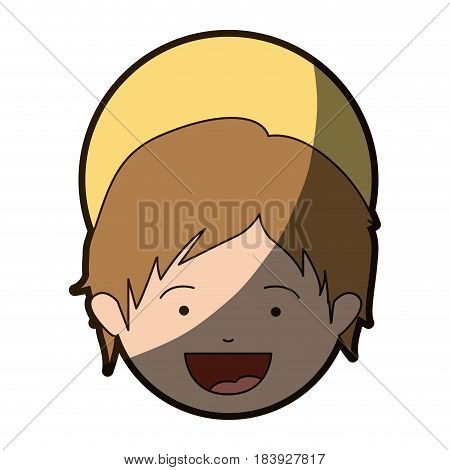 colorful silhouette of smiling face of child jesus with half shadow vector illustration