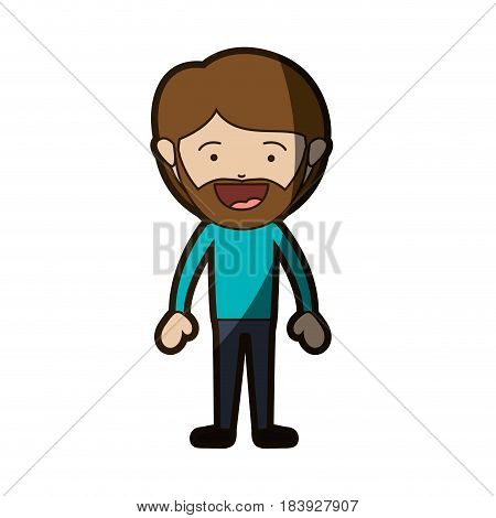 color silhouette of smiling man standing with beard and mustache and informal clothes with half shadow vector illustration