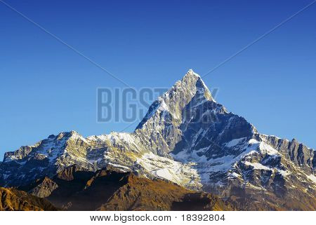 fishtail mountain in annapurna-range of the himalaya in nepal poster