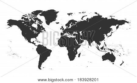Gray isolated detailed world map on white background. Design world map vector template. A flat map of the earth is a detailed graphic map of the world illustration.