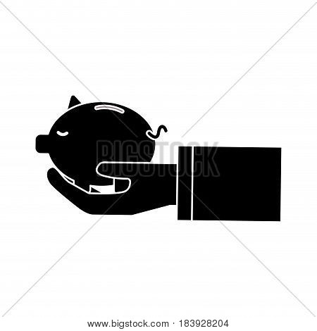 silhouette save pig in the hand, vector illustration design