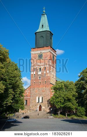 TURKU, FINLAND - AUGUST 27, 2016: Medieval Lutheran Cathedral (built in the second half of the XIII century) a Sunny day in August