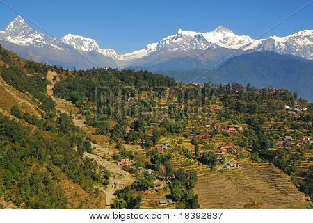 photo taken during paragliding in nepal with view on himalaya