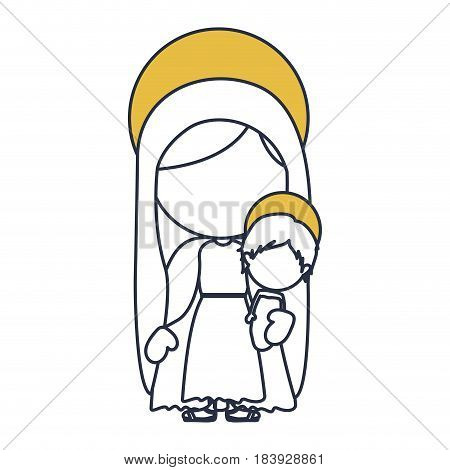 blue color contour of faceless image of saint virgin mary with baby jesus with yellow aura vector illustration