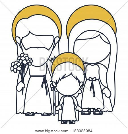 blue color contour of faceless image of sacred family with baby jesus and yellow aura vector illustration