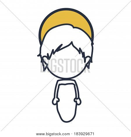 blue color contour of faceless image of baby jesus with yellow aura vector illustration