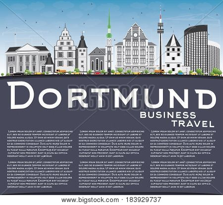 Dortmund Skyline with Gray Buildings, Blue Sky and Copy Space. Business Travel and Tourism Concept with Historic Architecture. Image for Presentation Banner Placard and Web Site.