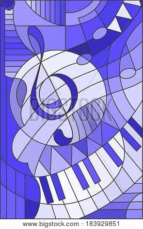 Abstract image of a treble clef in stained glass style blue tone