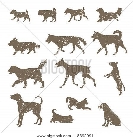 Different kinds of dog silhouette Shiba Akita Golden retreaver Beagle German Shepherd Golden Retriever Jack Russell Terrier Corgi Hound dog Pug Dalmatian Dachshund