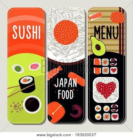 Traditional japanese food vertical banners with ingredients for sushi preparation and dish serving vector illustration