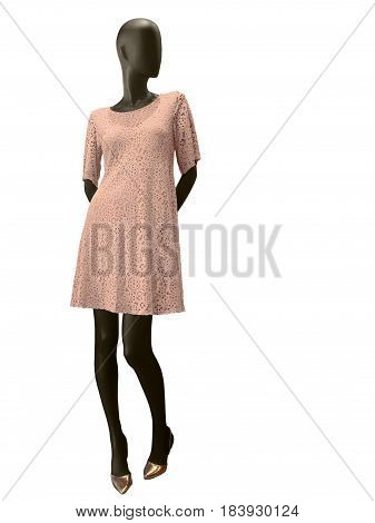 Full-length female mannequin dressed in pink lacy dress isolated on white background. No brand names or copyright objects.