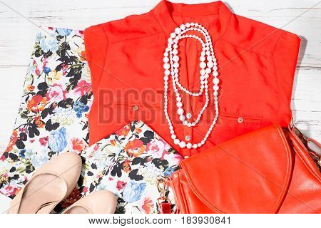 Fashionable stylish female clothes spring summer collection in trendy colors and patterns overhead