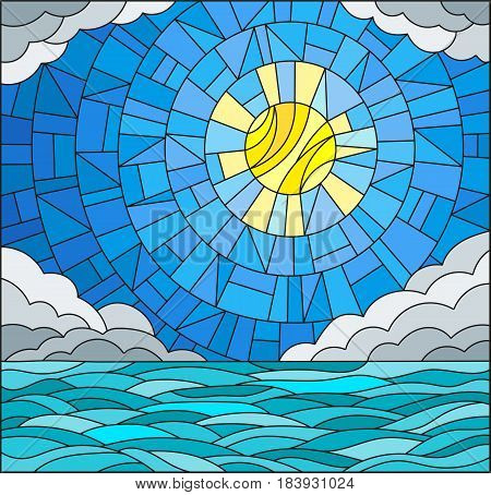 Illustration in stained glass style with sea landscape sea cloud sky and sun
