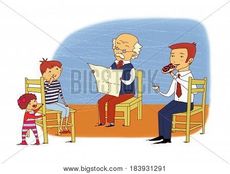 Family scene: grandfather reading a newspaper dad eating a sandwich grandson picking at the nose a little girl is standing near a chair. On a textured background