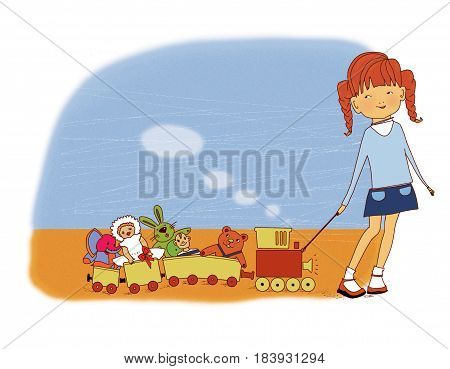 A little girl pulls a toy train with puppets a toy rabbit and a baby elephant on a rope On a textured background