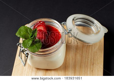 Panna Cotta With Mint In A Glass Jar