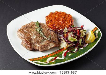 Pork Steak With Beans. Mexican Food. Mexican Cuisine.