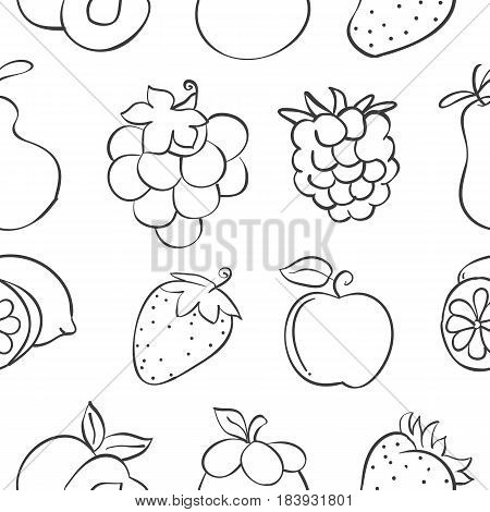 Collection stock fruit pattern style hand draw