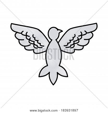 drawing bird pigeon freedom peace wings open vector illustration