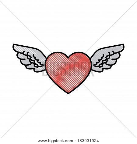 drawing romantic heart wings cute decoration vector illustration