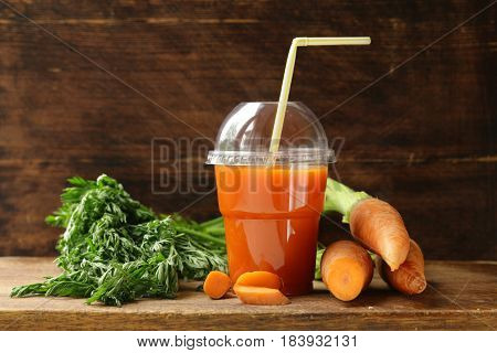 Natural organic fresh juice from carrots, healthy food