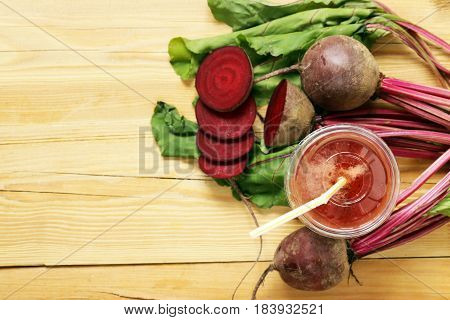 Natural organic fresh beet juice, healthy food