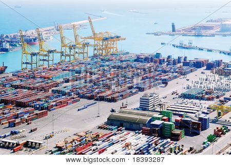 View over Barcelona harbor industry