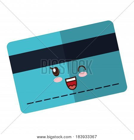 kawaii credit card icon over white background. vector illustration