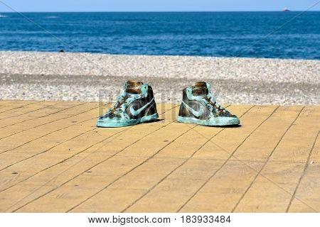 Statue Of Big Shoes In Batumi. Georgia