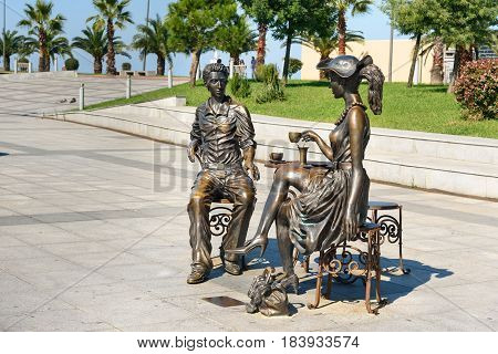 Statue Me, You And Batumi In Miracle Park. Batumi, Georgia