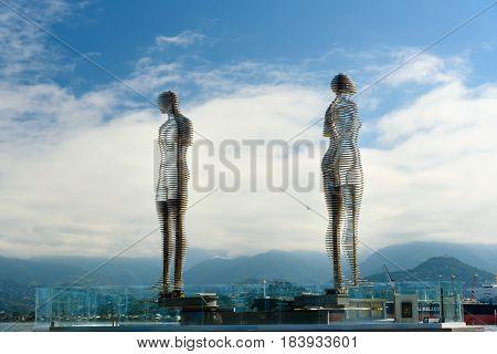 Moving Sculpture Ali And Nino In Batumi, Georgia