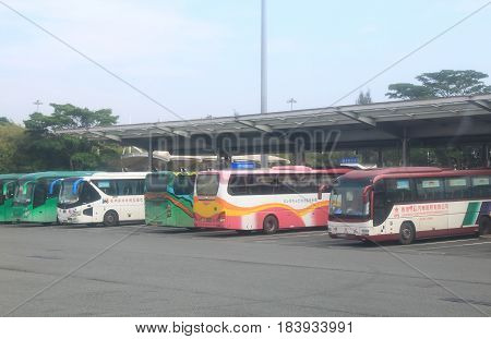 SHENZHEN CHINA - NOVEMBER 12, 2016: Buses wait for passengers at Shenzhen Bay Port border crossing point from Guangzhou to Hong Kong.