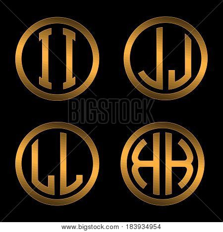 Set 1 of templates from two capital Golden letters on a black background I, J, L, K inscribed in a oval. To create logos, emblems, monograms.