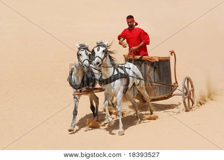 Roman warrior with horse and chariot cart during Roman show in Jerash, Jordan