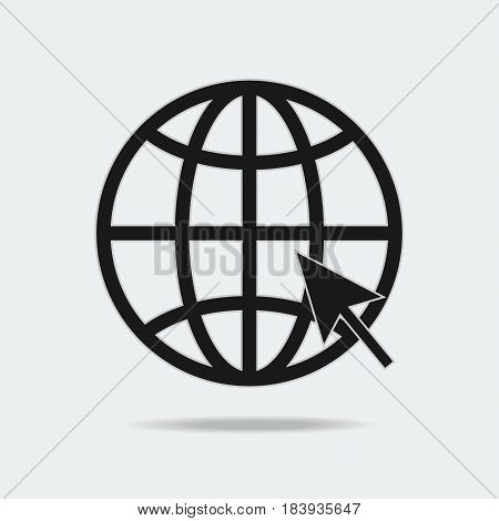 Internet icon go to web sign and symbol vector illustration flat design