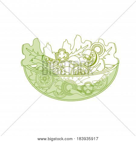 silhouette delicious fresh organ salad in the bowl, vector illustration