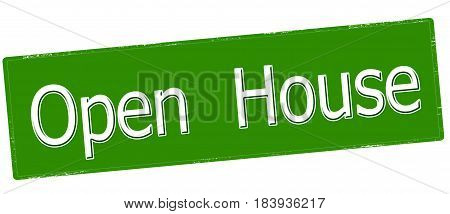 Stamp with text open house inside vector illustration