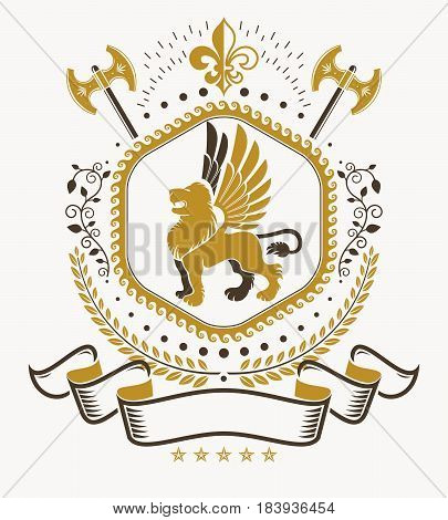 Retro vintage Insignia. Vector design element composed using wild lion illustration and sharp hatchets