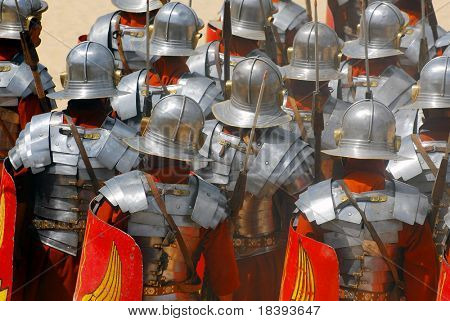 Backside of roman soldiers during Roman show in Jerash, Jordan