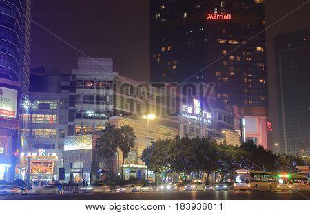 GUANGZHOU CHINA - NOVEMBER 13, 2016: Tianhe Road downtown cityscape.