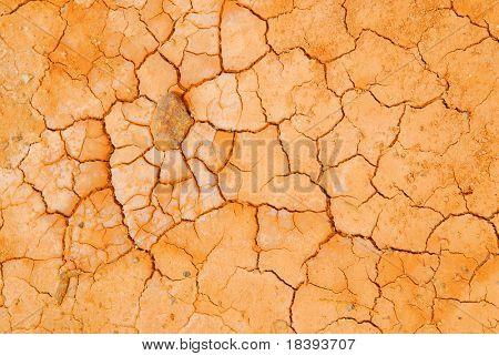 Orange bursted dry hard sand in desert